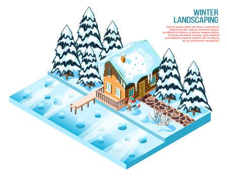 Winter landscaping isometric composition with wooden house snowy spruces and decorations near frozen lake vector illustration