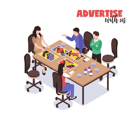 Advertising agency concept with creative thinking symbols isometric vector illustration