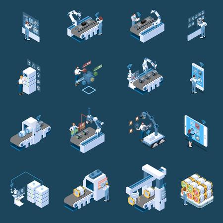 La industria inteligente con control remoto de fabricación robotizada y los iconos isométricos del centro de datos de producción aislaron ilustración vectorial Ilustración de vector