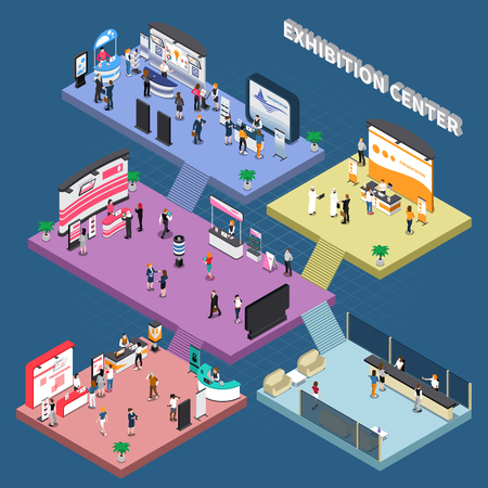 Multi storey exhibition center with corporate advertising stands and visitors isometric composition on blue background vector illustration Illustration