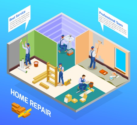 Home repair craftsman isometric composition with house remodeling professional team flooring painting sanitary installation service vector illustration