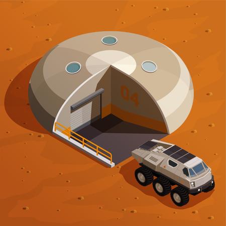 Mars colonization isometric design concept with explorer near colony base station on martian landscape background vector illustration