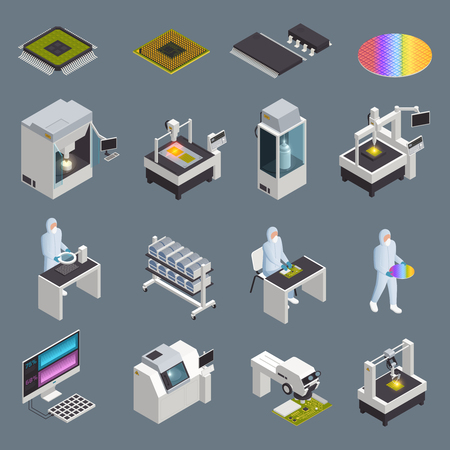 Semiconductor chip production isometric icons collection with isolated hi-tech facilities and supplies with human characters vector illustration