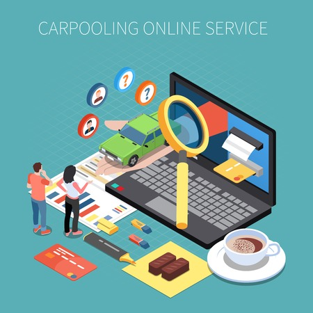Carsharing and carpooling isometric concept with car rental symbols  vector illustration
