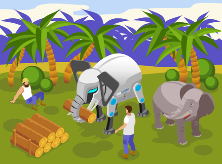 Animals robots at work isometric composition with automated giant elephant carrying heavy logs tropical background vector illustration Illustration