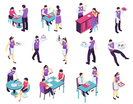 Isometric restaurant waiter set with isolated images of people attending cafe and waiter characters in uniform vector illustration