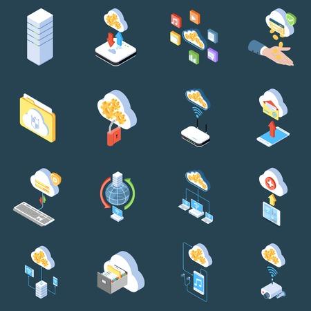 Cloud technology isometric icons of storage protection and synchronization of data on dark background isolated vector illustration Ilustração