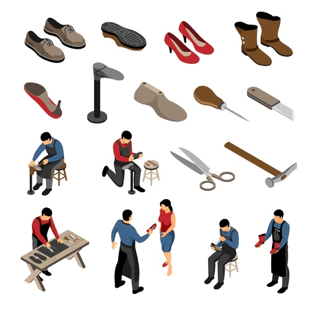 Isometric shoemaker set with various models of shoes for men and women with human characters vector illustration