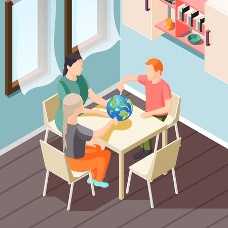 Alternative education isometric background with teacher and pupils during geography lesson vector illustration Archivio Fotografico - 127557018