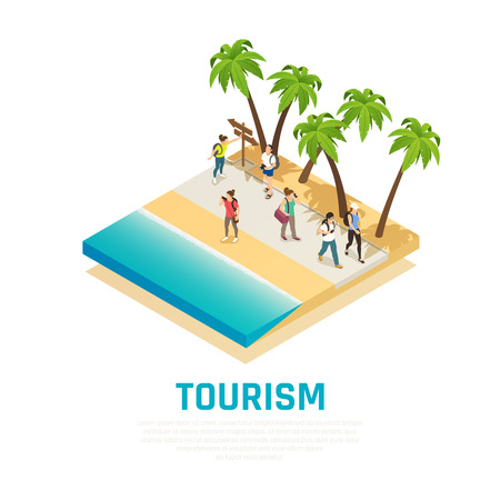 People with back packs during travel along sea shore with palm trees isometric composition vector illustration