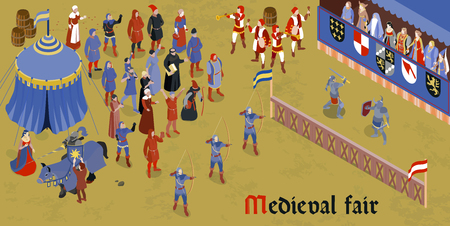 Isometric medieval horizontal composition with medieval fair headline and group of people on square vector illustration