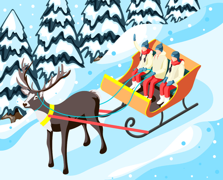 Family in sleigh pulled by reindeer in park or forest during winter holiday isometric vector illustration Ilustração