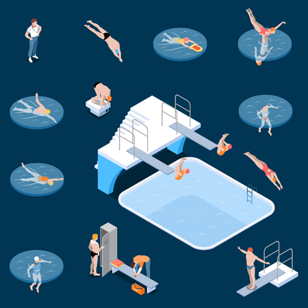 Public swimming pool sports equipment locker room elements and visitors isometric set dark background isolated vector illustration