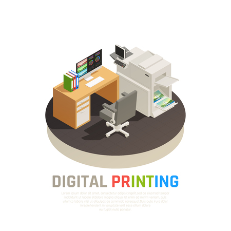 Contemporary digital printing house office software inkjet laser screen equipment designer desk rond isometric composition vector illustration