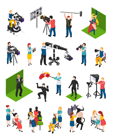 Kinematographie isometrische Menschen Videofilmer mit Camcorder Schauspieler Regisseur Illuminator Dresser und Dekorateur isolierte Vektorillustration Vektorgrafik