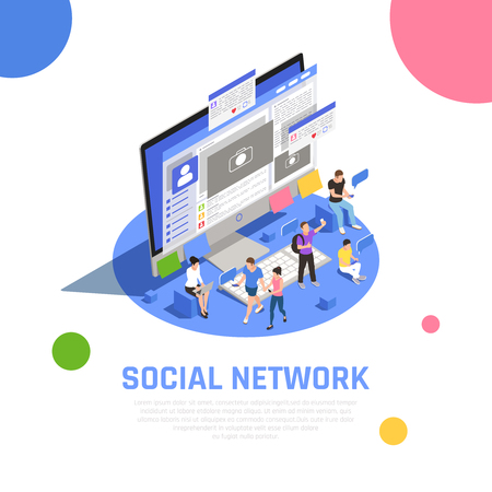Social media network users sharing photo topics with friends communicating messaging opening applications isometric composition vector illustration