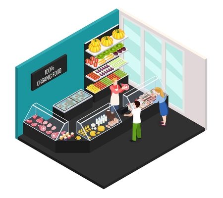 Farmer market of organic food isometric interior with seller showing buyers fresh farm meat vector illustration