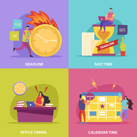 Stressed human characters during deadline flat design concept with clock calendar and fire isolated vector illustration Çizim