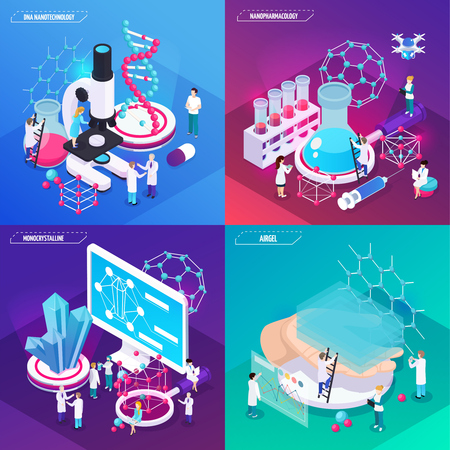 Nanotechnology 2x2 design concept set of airgel monocrystalline dna square compositions isometric vector illustration
