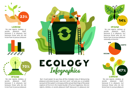 Environmental restoration infographics with forest recovery recycling of waste green energy donations for ecology flat vector illustration
