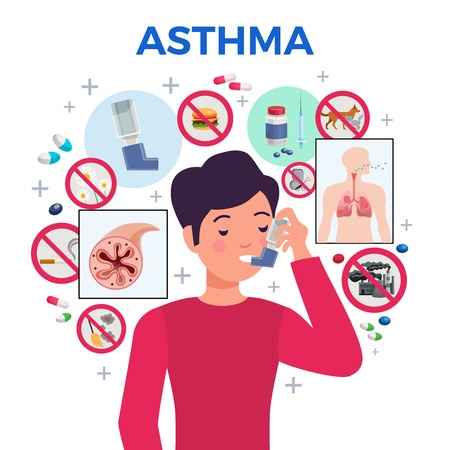 Asthma triggers medication anti inflammatory drugs pills capsules treatment patient with inhaler flat circle composition vector illustration Foto de archivo - 112542208