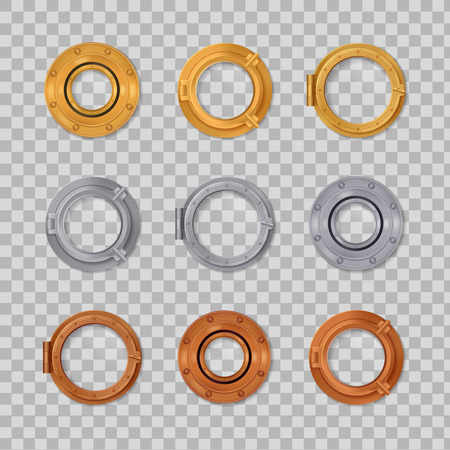 Porthole realistic transparent colored icon set silver gold and bronze in round shape vector illustration
