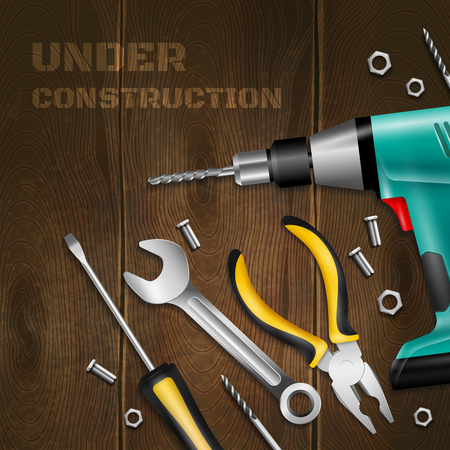 Under construction wooden background with scattered handle instrument for construction and repair works realistic vector illustration
