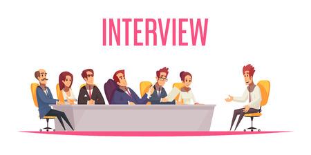 Reprendre la composition de fond de recrutement avec du texte et des personnages humains de dessins animés du candidat à l'emploi et des membres du comité illustration vectorielle