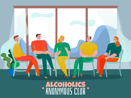 Psychotherapist and psychologist therapy with alcoholics club symbols flat vector illustration Illustration
