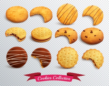 Realistic set of different form cookies whole and bitten isolated on transparent background vector illustration Ilustração