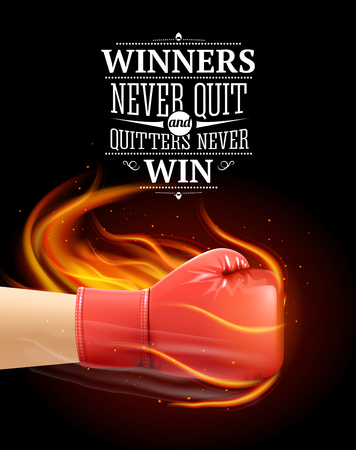 Winners and quitters quotes with sports symbols and boxing realistic vector illustration