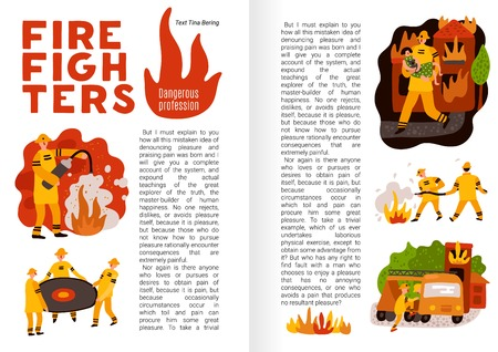 Fire fighting flat infographics on book pages firemen with professional equipment during work vector illustration Illustration
