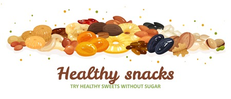 Various nuts and dried fruits for healthy and delicious snack flat vector illustration
