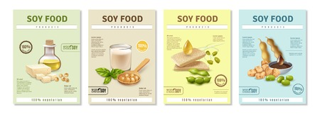Satz vertikale Werbeplakate mit Sojalebensmittelprodukten auf buntem Hintergrund lokalisierte Vektorillustration Vektorgrafik