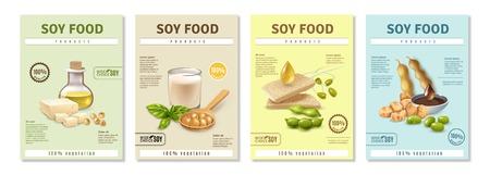 Zestaw pionowych plakatów reklamowych z produktami sojowymi na kolorowe tło na białym tle ilustracji wektorowych Ilustracje wektorowe