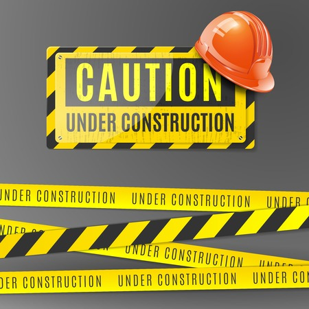 Under construction realistic poster with orange helmet caution placard and fencing tape with yellow and black stripes vector illustration