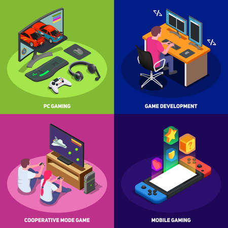 Gaming development 2x2 design concept set of mobile pc and cooperative modes of game isometric vector illustration