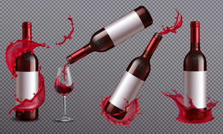 Wine splash realistic set of images on transparent background with jars and drinking glass vector illustration