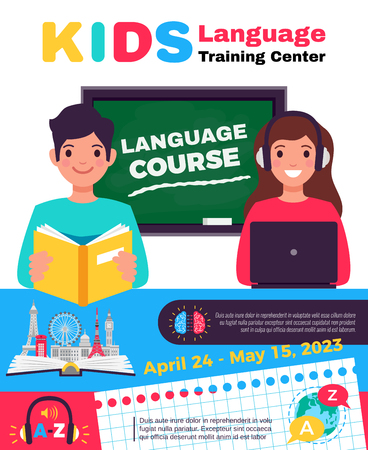 Language center special training course for kids colorful advertisement poster with tutors and data flat vector illustration