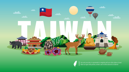 Taiwan travel flat horizontal composition   with national food animals nature temple sightseeing landmarks attractions vector illustration