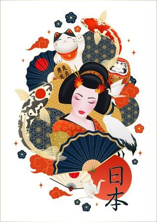 Geisha giapponese circondata da carpe colorate gru che fa cenno gatto simboli nazionali composizione poster decorativo illustrazione realistica di vettore