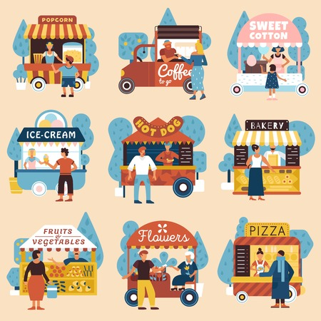 Sellers buyers street vendors retro style flat compositions set with pizza hot dog  trucks isolated vector illustration