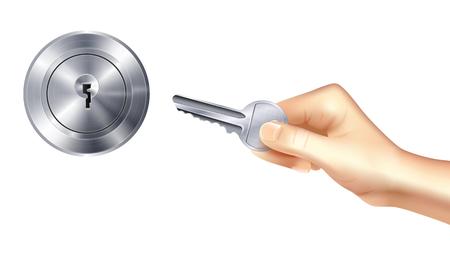 Realistisches Designkonzept für Schloss und Schlüssel mit metallischem Türschlüsselloch und Hand, die Schlüsselvektorillustration hält
