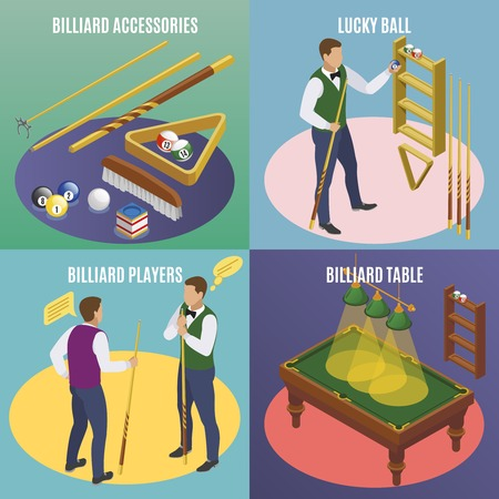 Billiards isometric 2x2 design concept with editable text and images of billiard accessories with lucky balls vector illustration