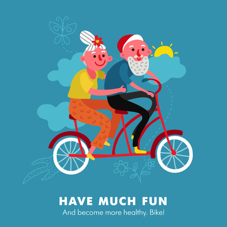 Elderly active healthy lifestyle cartoon poster with couple having fun with cycling tandem bicycle background vector illustration Banque d'images - 112542114