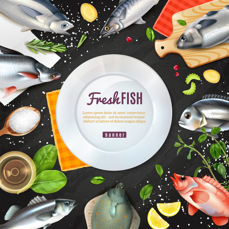 Cornice rotonda bianca con varietà di pesce per cucinare con spezie su sfondo nero illustrazione vettoriale Vettoriali