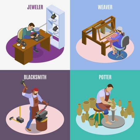 Craftsman isometric 4 icons square concept with hand loom weaver artisan jeweler blacksmith potter isolated vector illustration