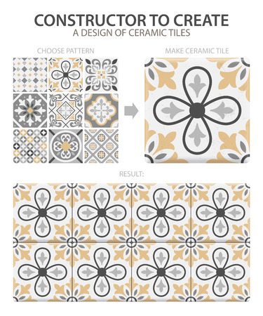 Realistic ceramic floor tiles vintage pattern with one type or set composed of different tiles vector illustration Çizim