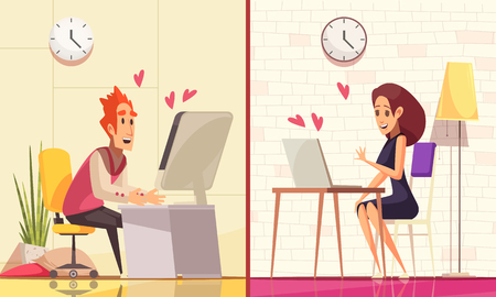 Virtual and real love compositions set with domestic interiors and characters of couple sitting at computers vector illustration