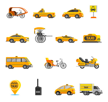Taxi icons set of different types of vehicles and cars in flat style isolated vector illustration